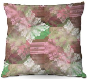 Decorative Outdoor Patio Pillow Cushion | Pam Amos - Crystal in Pink | Gem pattern abstract