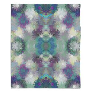 Artistic Sherpa Pile Blankets | Pam Amos - Daisy Blush 1 Blue Plum | repetition geometric mandala flower