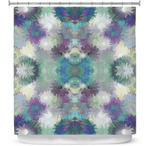 Premium Shower Curtains | Pam Amos - Daisy Blush 1 Blue Plum | repetition geometric mandala flower