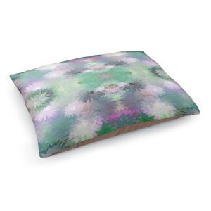 Decorative Dog Pet Beds | Pam Amos - Daisy Blush 1 Emerald Pink | repetition geometric mandala flower