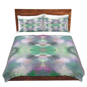 Artistic Duvet Covers and Shams Bedding | Pam Amos - Daisy Blush 1 Emerald Pink | repetition geometric mandala flower