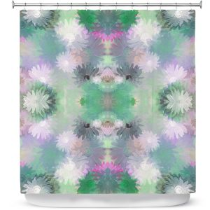 Unique Shower Curtain from DiaNoche Designs by Pam Amos - Daisy Blush 1 Emerald Pink
