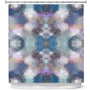 Premium Shower Curtains | Pam Amos - Daisy Blush 1 Lilac Blue | repetition geometric mandala flower