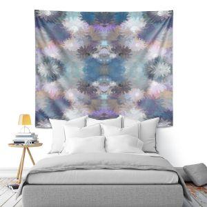 Artistic Wall Tapestry   Pam Amos - Daisy Blush 1 Lilac Blue   repetition geometric mandala flower