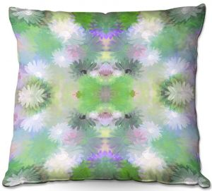 Throw Pillows Decorative Artistic | Pam Amos - Daisy Blush 1 Mint | repetition geometric mandala flower