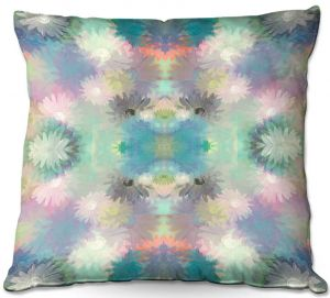 Throw Pillows Decorative Artistic | Pam Amos - Daisy Blush 1 Summer Blues | repetition geometric mandala flower