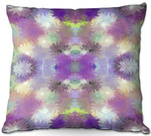 Throw Pillows Decorative Artistic | Pam Amos - Daisy Blush 1 Violet | repetition geometric mandala flower