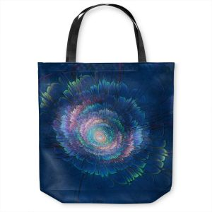 Unique Shoulder Bag Tote Bags | Pam Amos - Dust Blues Floral | Galaxy space pattern circle swirl