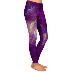Casual Comfortable Leggings | Pam Amos - Dust Purple Floral | Galaxy space pattern circle swirl