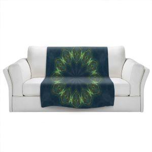 Artistic Sherpa Pile Blankets | Pam Amos - Electric Vibes Green | Circular mandala shapes geometric