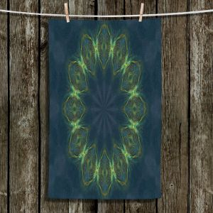 Unique Bathroom Towels | Pam Amos - Electric Vibes Green | Circular mandala shapes geometric