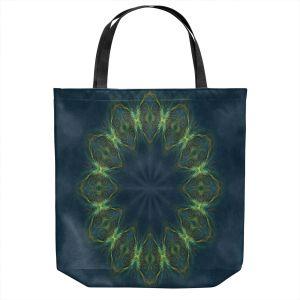 Unique Shoulder Bag Tote Bags | Pam Amos - Electric Vibes Green | Circular mandala shapes geometric
