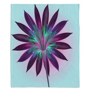 Artistic Sherpa Pile Blankets | Pam Amos - Floral Bliss Blues | Flower graphic