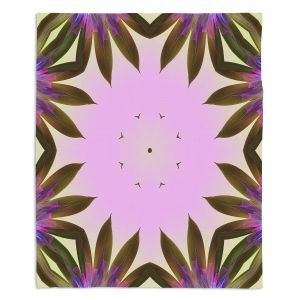 Decorative Fleece Throw Blankets | Pam Amos - Floral Bliss Pinks 2 | Nature floral spiritual geometric