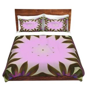 Artistic Duvet Covers and Shams Bedding | Pam Amos - Floral Bliss Pinks 2 | Nature floral spiritual geometric
