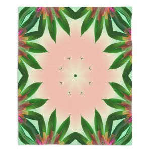 Decorative Fleece Throw Blankets | Pam Amos - Floral Bliss Pinks 3 | Nature floral spiritual geometric