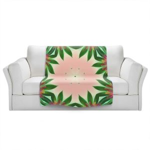 Artistic Sherpa Pile Blankets   Pam Amos - Floral Bliss Pinks 3   Nature floral spiritual geometric