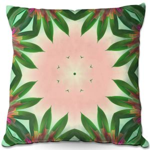 Decorative Outdoor Patio Pillow Cushion | Pam Amos - Floral Bliss Pinks 3 | Nature floral spiritual geometric