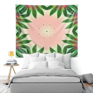 Artistic Wall Tapestry | Pam Amos - Floral Bliss Pinks 3 | Nature floral spiritual geometric