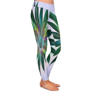 Casual Comfortable Leggings | Pam Amos - Floral Bliss Violet Green | Flower graphic