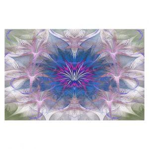 Decorative Floor Covering Mats | Pam Amos - Floral Dance Pink Blue | pattern digital flowers