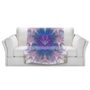 Artistic Sherpa Pile Blankets | Pam Amos - Floral Dance Pink Blue | pattern digital flowers