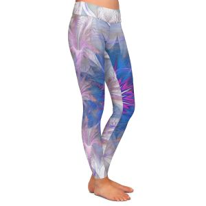 Casual Comfortable Leggings | Pam Amos - Floral Dance Pink Blue | pattern digital flowers