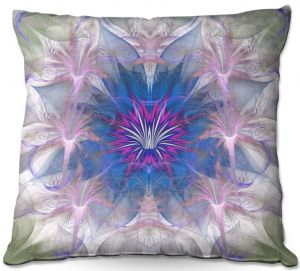 Decorative Outdoor Patio Pillow Cushion | Pam Amos - Floral Dance Pink Blue | pattern digital flowers