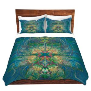 Artistic Duvet Covers and Shams Bedding | Pam Amos - Flower Lady Blue Yellow | pattern digital flowers repetition