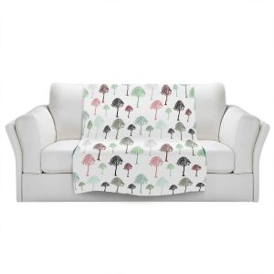 Artistic Sherpa Pile Blankets   Pam Amos - Forest   Trees pattern
