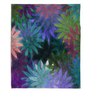 Decorative Fleece Throw Blankets | Pam Amos - Forest Flowers 1 | Floral pattern abstract