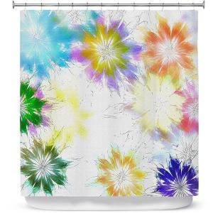 Premium Shower Curtains | Pam Amos - Fresia Splash | Flowers floral pattern abstract