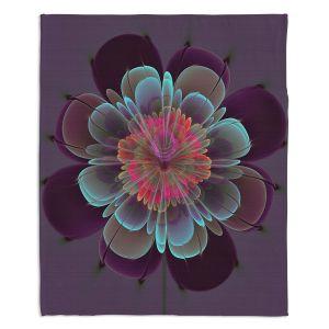 Artistic Sherpa Pile Blankets | Pam Amos - Ghost Flower Beet Purple | digital flower nature