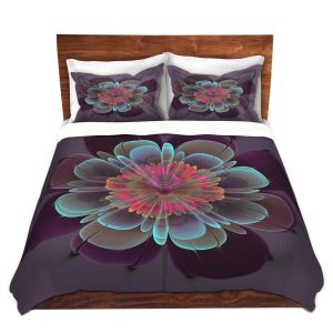 Artistic Duvet Covers and Shams Bedding | Pam Amos - Ghost Flower Beet Purple | digital flower nature
