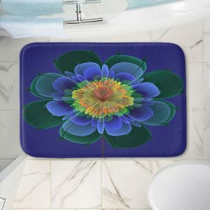 Decorative Bathroom Mats | Pam Amos - Ghost Flower Blue Orange | digital flower nature