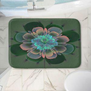 Decorative Bathroom Mats | Pam Amos - Ghost Flower Pine Blue | digital flower nature