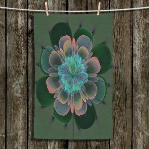 Unique Hanging Tea Towels   Pam Amos - Ghost Flower Pine Blue   digital flower nature