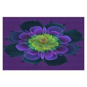 Decorative Floor Covering Mats | Pam Amos - Ghost Flower Purple Yellow | digital flower nature