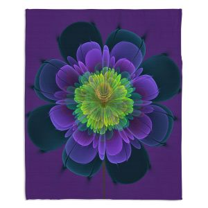 Decorative Fleece Throw Blankets | Pam Amos - Ghost Flower Purple Yellow | digital flower nature