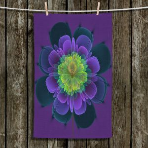 Unique Bathroom Towels | Pam Amos - Ghost Flower Purple Yellow | digital flower nature