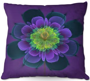 Unique Outdoor Pillow 20X20 from DiaNoche Designs by Pam Amos - Ghost Flower Purple Yellow