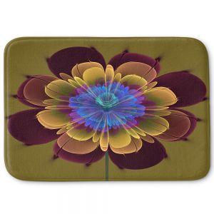 Decorative Bathroom Mats | Pam Amos - Ghost Flower Red Olive | digital flower nature