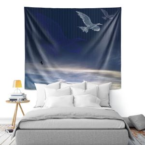 Artistic Wall Tapestry | Pam Amos - Going Home | Sea Bird Cloudy Sky
