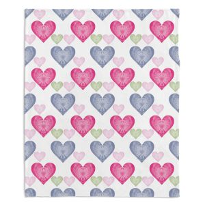 Decorative Fleece Throw Blankets | Pam Amos - Hearts in a Row | love pattern