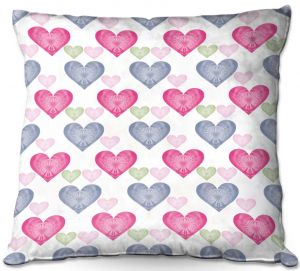 Decorative Outdoor Patio Pillow Cushion | Pam Amos - Hearts in a Row | love pattern
