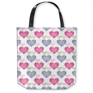 Unique Shoulder Bag Tote Bags | Pam Amos - Hearts in a Row | love pattern