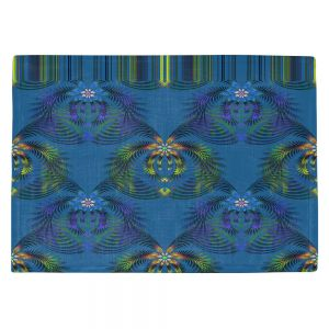 Decorative Kitchen Placemats 18x13 from DiaNoche Designs by Pam Amos - Hibiscus Fern Blue