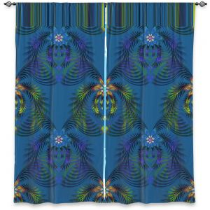 Decorative Window Treatments | Pam Amos - Hibiscus Fern Blue | pattern flower nature leaves