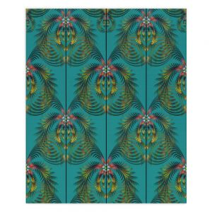 Decorative Wood Plank Wall Art   Pam Amos - Hibiscus Fern Teal   pattern flower nature leaves
