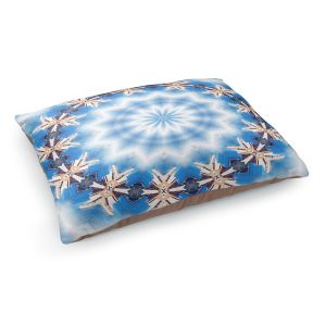 Decorative Dog Pet Beds | Pam Amos - Kaleidoscope Blue | Pattern mandala circular geometry